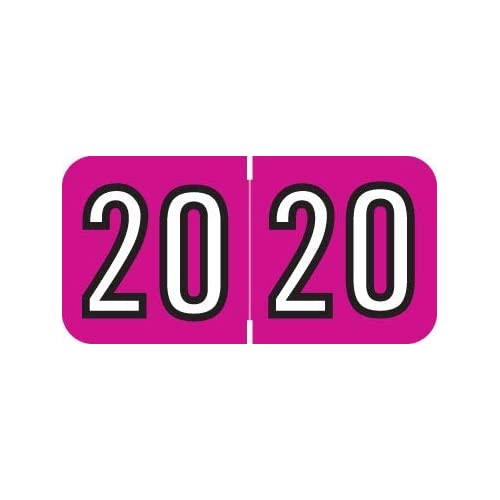 Laminated 2020 Year Labels 3//4H x 1-1//2W POS Compatible Roll of 500