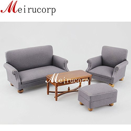 Meirucorp Fine 1//12 Scale Miniature Furniture Lovely Cloth Art Small Sofa for Dollhouse