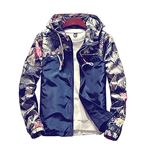 MOMTUESDAYS2 Floral Bomber Jacket Men Hip Hop Slim Fit Flowers Bomber Jacket Coat Mens Hooded Jackets Plus Size
