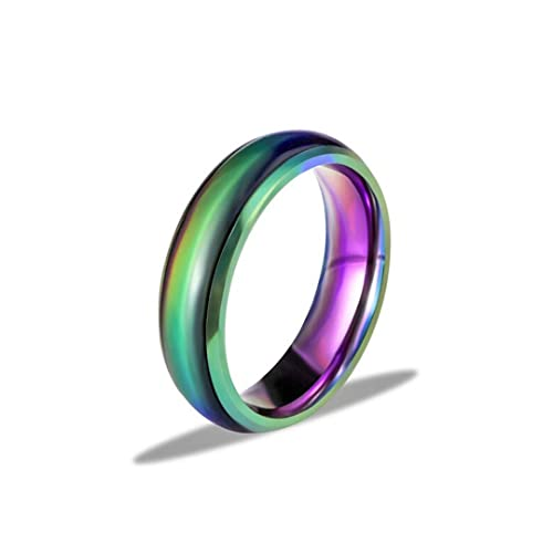 Ello Elli 6MM Comfort Fit Stainless-Steel Color Changing Mood Ring Silver//Black//Gold//Rose Gold//Rainbow Tone