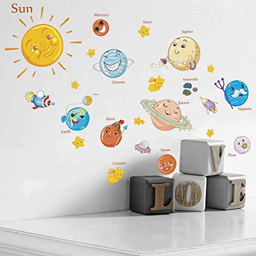 Buy Amaonm Kids Room Wall Art Decor Decals Cartoon Removable Universe Space Planet Solar System Galaxy Diy Home Wall Stickers Decals Murals For Bedroom Living Room Ceiling Boys Girls Rooms Nursery Online