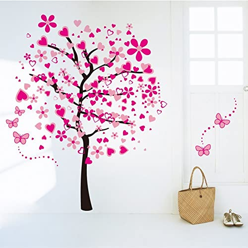 Buy Amaonm Cartoon Pink Heart Peach Tree Wall Decals Butterfly Flowers Wall Decor Decorative Painting Supplies Wall Treatments For Girls Kids Living Room Bedroom Offices Classroom Online In Costa Rica B010qfgpam