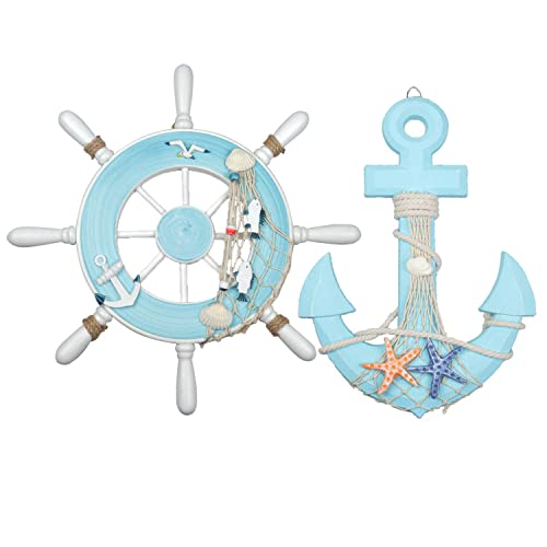 Buy Meching Nautical Decor 2 Pack 13 Wooden Ship Wheel And Wood Anchor With Rope Nautical Boat Steering Rudder Wall Decor Door Hanging Ornamentlight Blue Online In Costa Rica B07k76mhfv