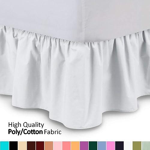 Bedding Ruffled Bed Skirt Queen, Queen White Bed Skirt 16 Drop