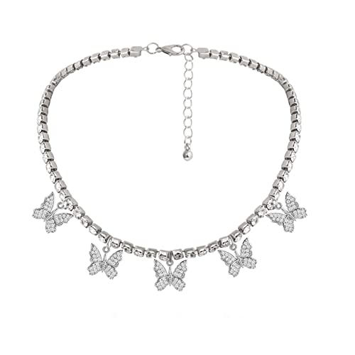 Butterfly Necklace Tennis Chain Butterfly Choker Bling Iced CZ Butterfly Necklace Silver Women
