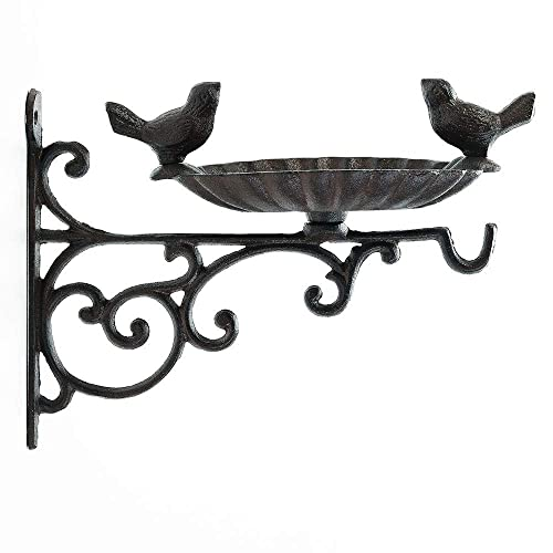 Buy Sungmor Heavy Duty Cast Iron Bird Feeder With Hanging Bracket Wall Mounted Bird Bath Vintage Lovely Birds Hanger Wall Hook For Planters Lanterns Wind Chimes And More Garden