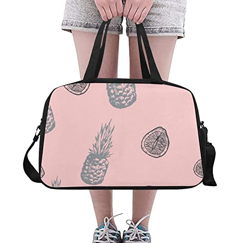 Pineapples Pink Sports Gym Bag with Shoes Compartment Travel Duffel Bag for Men and Women