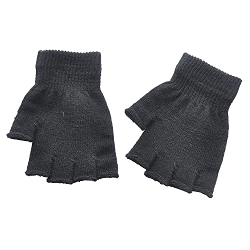 Boys and Girls Fingerless Gloves Winter Solid Knitted Texting Mitten 6 Length