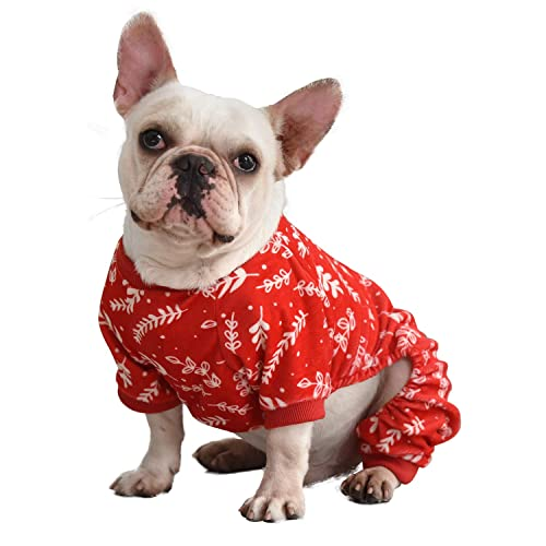 CuteBone Christmas Dog Jumpsuit Shirt Winter Holiday Cute Pjs Pet Clothes Bodysuit for Doggie Onesies