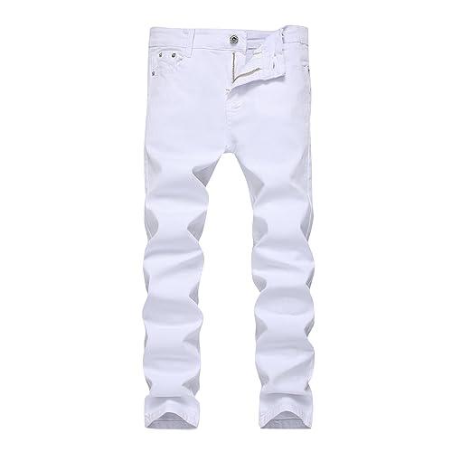 5 6 7 8 10 12 14 16 Boys Jeans Slim Straight Fit Elastic Waist Stretch Fashion Ripped Pants