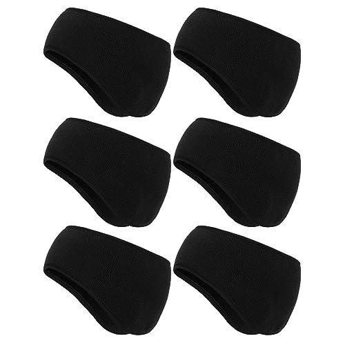 6 Pieces Ear Warmer Headbands Winter Ear Muffs Headband Sports Full Cover Headbands for Outdoor Activities Sports Fitness Black