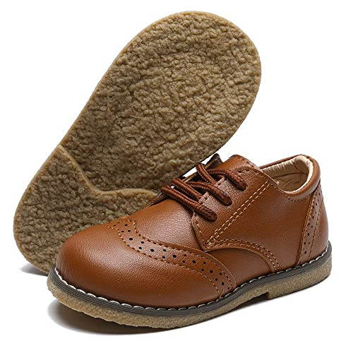 TIMATEGO Baby Boys Girls Oxford Shoes Hard Bottom Lace Up Sneaker PU Leather Moccasin Infant Toddler First Walker Oxford Uniform Dress Shoes