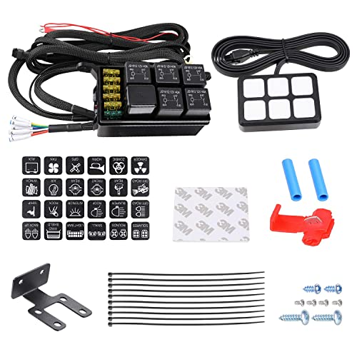 6 Gang Switch Panel Kit Auto Power Plus Circuit Control Box Relay System Universal ON-OFF Touch Switch Box for Car Marine Boat ATV UTV Truck Jeep