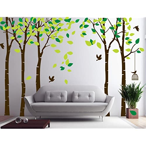 Buy Amaonm 104 X71 Giant Large Jungle 5 Trees Wall Decals Green Leaves And Fly Birds Wallpaper Wall Decor Diy Vinyl Wall Stickers For Kids Bedroom Living Room Nursery Rooms Offices Walls Brown