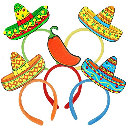 Luau Event Photo Props Mexican Theme Decorations 6 PCS Cinco De Mayo Fiesta Fabric and Straw Sombrero Headbands Party Costume for Fun Fiesta Hat Party Supplies Dia De Muertos and Party Favors