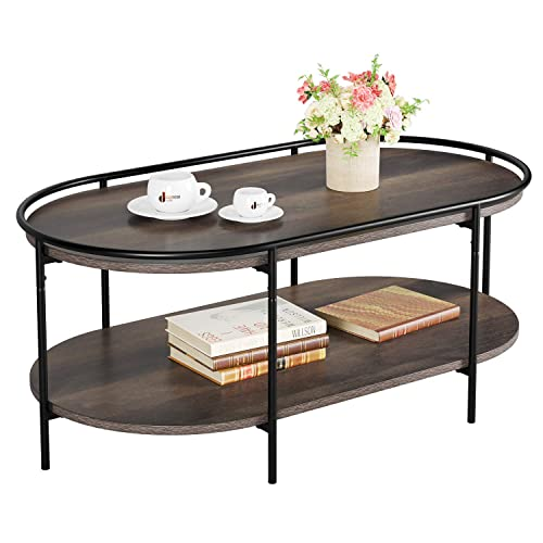 Buy Homecho Oval Coffee Table 2 Tier Living Room Table Accent Hill Cocktail Table Sofa Center Table With Storage Shelf Wood And Metal Frame Dark Brown Online In Costa Rica B08b41fwfn