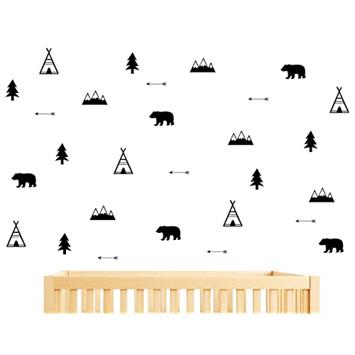 Woodland Wall Decal Bears Arrow Teepees Trees And Mountains Decor Matte Vinyl Wall Stickers For Baby Bedroom Nursery Wall Decalsy05 Black Buy Products Online With Ubuy Costa Rica In Affordable Prices