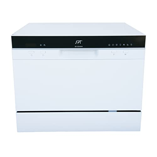 Buy Spt Sd 2224dw Compact Countertop Dishwasher With Delay Start Portable Dishwasher With Stainless Steel Interior And 6 Place Settings Rack Silverware Basket For Apartment Office And Home Kitchen White Online In