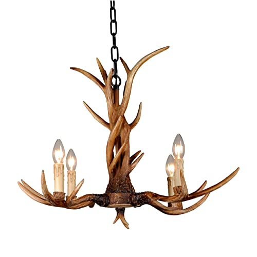 Bulbs Not Included EFFORTINC Resin Antler Chandeliers 4 Light 29 Diameter X 18.1 Tall with 4 Feet Matching Chain