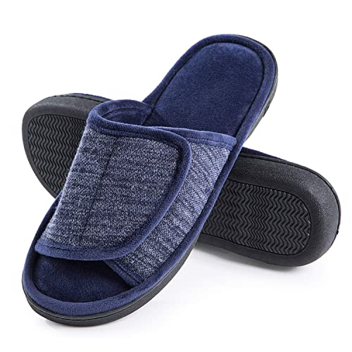 Open Toe House Slippers for Men Indoor Outdoor Breathable Slide Bedroom Slippers for Men Anti-Slip Rubber Sole Black Gray Navy Brown DL Adjustable-Mens-Slippers-Memory-Foam