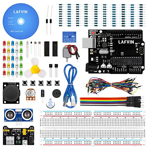 LAFVIN Basic Starter Kit with R3 Controller Board,LED Resistor,Jumper Wires and Power Supply Compatible with Arduino IDE