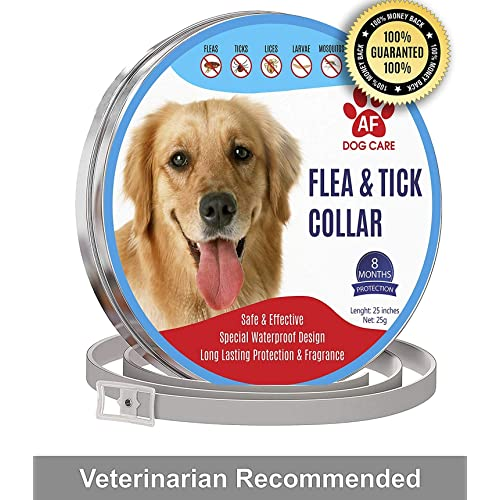 8 Months Flea and Tick Control for Dogs AF Dog Flea and Tick Control Collar Non-Toxic Dog Flea Treatment Natural Herbal Waterproof Protection and Adjustable Best Flea Collar for Dogs