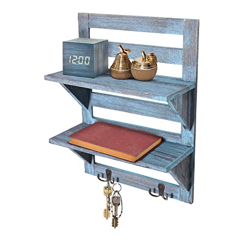 Buy Comfify Rustic Wall Mounted Shelves Kitchen Or Bathroom Farmhouse Rustic Décor Vintage Wall Shelves With Two Double Iron Hooks 2 Tier Storage Rack Decorative Wall Shelf Organizer Rustic