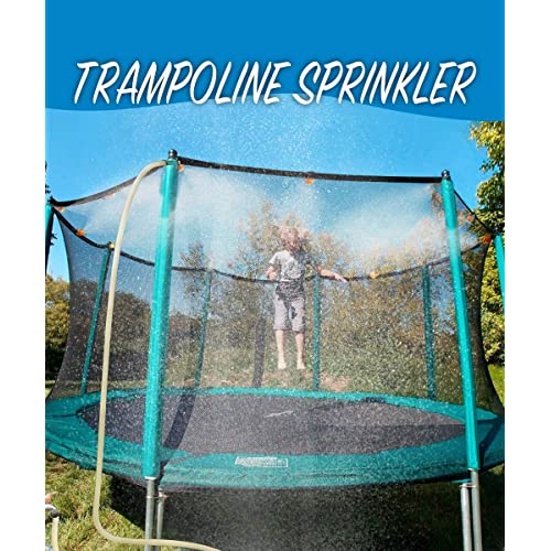 MeiGuiSha 50 ft Trampoline Backyard Sprinklers Spray Water Park Fun Summer Cool Things Outdoor Toys Water Game Trampoline Accessories Ladder Made to Attach on Trampoline Safety Net Enclosure