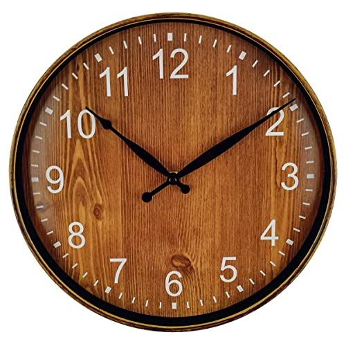 Buy Foxtop Retro Wall Clock Silent Non Ticking 12 Inch Quartz Round Battery Operated Home Clock Arabic Numbers Plastic Frame Brown Color Online In Costa Rica B06xw8497v
