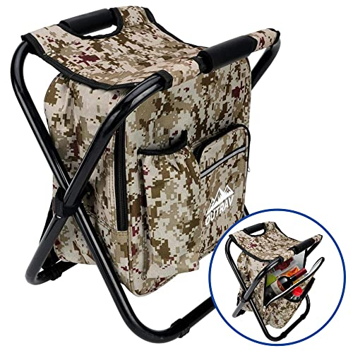 Outrav Backpack Cooler and Stool Beach and More for Hiking Collapsible Folding Camping Chair and Insulated Cooler Bag with Zippered Front Pocket and Bottle Pocket