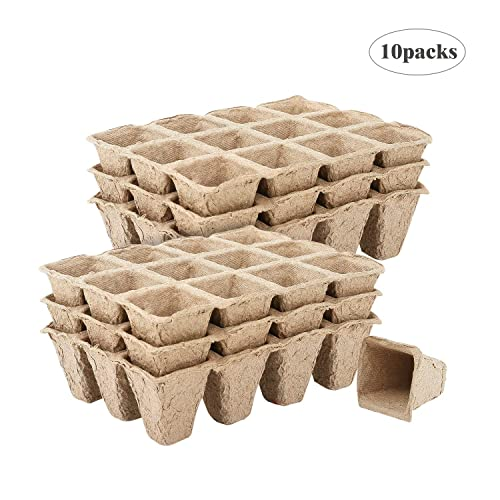 Buy Housolution Seedlings Starter Trays 10pcs Biodegradable 12grids Peat Pots For Gardening Seed Starter Tray Eco Friendly Plant Starting Pots Germination Container 120 Cell Pack Online In Costa Rica B07mxxrr4g