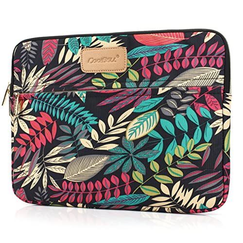 CoolBELL 13.3 Inch Laptop Sleeve Case with Colorful Leaves Pattern Protective Ultrabook Sleeve Case MacBook Canvas Bag for Acer//Asus//Dell//HP//Lenovo//MacBook Pro//MacBook Air//Women//Men//Teens,Grey