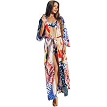 RanRui Swimsuit Cover up Womens Chiffon See Through Kimono Floral Print 3//4 Sleeve Loose Beach wrap Green 2251
