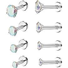 Drperfect 16G Internally Threaded 2//3//4//5MM Cubic Zirconia Forward Helix Piercing Jewelry Ear Cartilage Tragus Studs Earrings