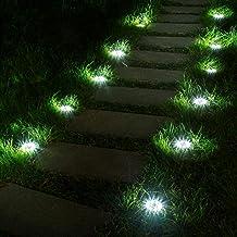 Yard Pathway Walkway Lawn ZONGOOL Solar Ground Lights,Disk Lights Solar Powered Waterproof In-Ground Lights for Garden Deck 2 Packs, Warm+Blue