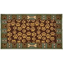 Brown Teal, 18 x 30 Mat RugStylesOnline Pet Paw and Bone Design Brown Teal Blue Printed Slip Resistant Rubber Back Latex Door Mat